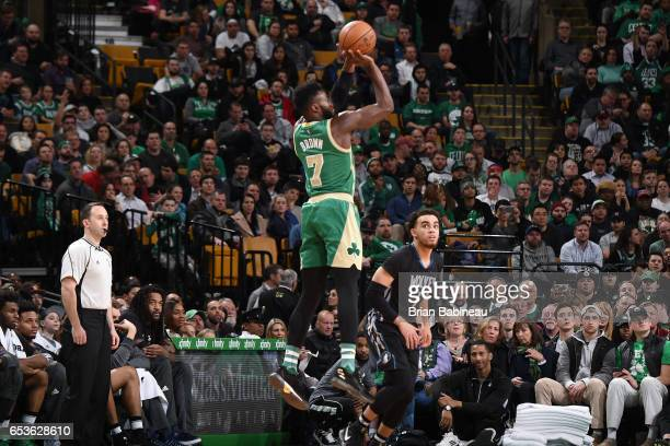 Jaylen Brown of the Boston Celtics shoots the ball against the Minnesota Timberwolves on March 15 2017 at the TD Garden in Boston Massachusetts NOTE...