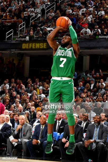 Jaylen Brown of the Boston Celtics shoots the ball against the Cleveland Cavaliers on October 17 2017 at Quicken Loans Arena in Cleveland Ohio NOTE...