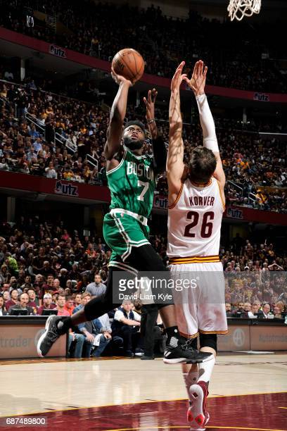 Jaylen Brown of the Boston Celtics shoots the ball during the game against the Cleveland Cavaliers in Game Four of the Eastern Conference Finals of...