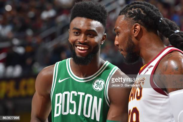 Jaylen Brown of the Boston Celtics smiles during the game against the Cleveland Cavaliers on October 17 2017 at Quicken Loans Arena in Cleveland Ohio...