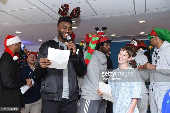 Jaylen Brown of the Boston Celtics spreads holiday cheer duing a children's hospital visit on December 1 2016 at Boston Children's Hospital in Boston...