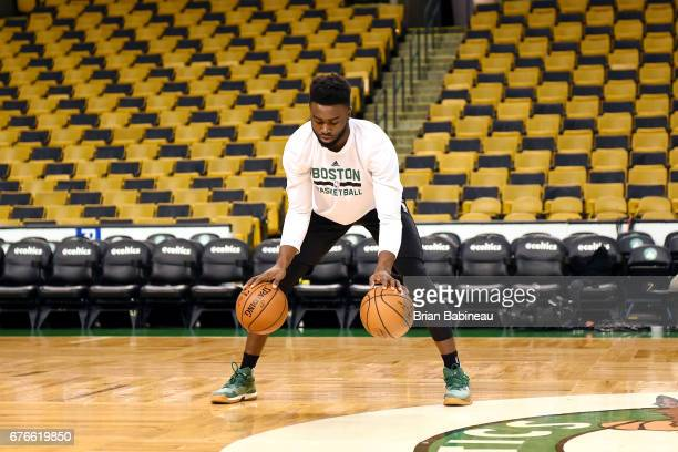 Jaylen Brown of the Boston Celtics warms up before the game against the Washington Wizards during Game Two of the Eastern Conference Semifinals of...
