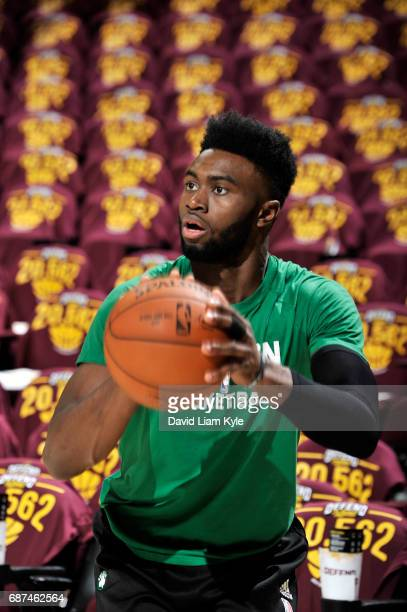 Jaylen Brown of the Boston Celtics warms up before the game against the Cleveland Cavaliers in Game Four of the Eastern Conference Finals of the 2017...