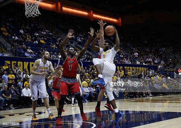 Jaylen Brown of the California Golden Bears goes up for a shot against Derail Green of the Incarnate Word Cardinals at Haas Pavilion on December 9...