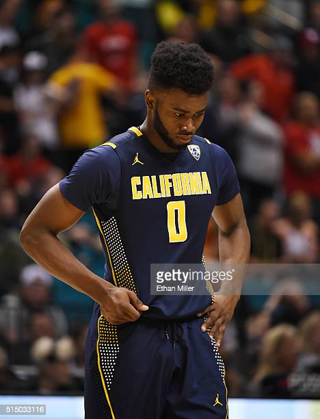 Jaylen Brown of the California Golden Bears stands on the court late in the team's semifinal game of the Pac12 Basketball Tournament against the Utah...