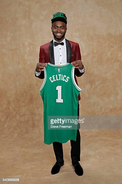 Jaylen Brown poses for a portrait after being drafted number three overall by the Boston Celtics during the 2016 NBA Draft on June 23 2016 at...