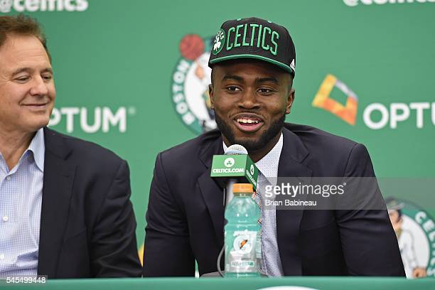 Jaylen Brown speaks at a press conference after being drafted by the Boston Celtics during the 2016 NBA Draft on June 24 2016 at TD Garden in Boston...