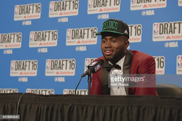 Jaylen Brown speaks with press after being selected third overall by the during the 2016 NBA Draft on June 23 2016 at Barclays Center in Brooklyn New...