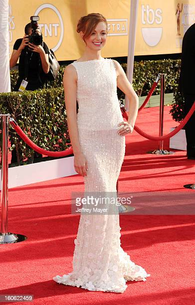 Jayma Mays arrives at the 19th Annual Screen Actors Guild Awards at the Shrine Auditorium on January 27 2013 in Los Angeles California