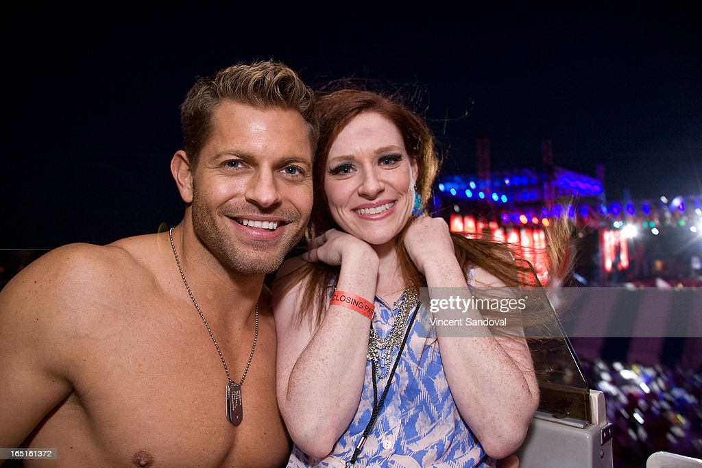 Jaymes Vaughan and singer Laura Michelle attend the Circus Xtreme T-Dance during Jeffrey Sanker presents White Party Palm Springs 2013 Day 3 at the White Party Park on March 31, 2013 in Palm Springs, California.