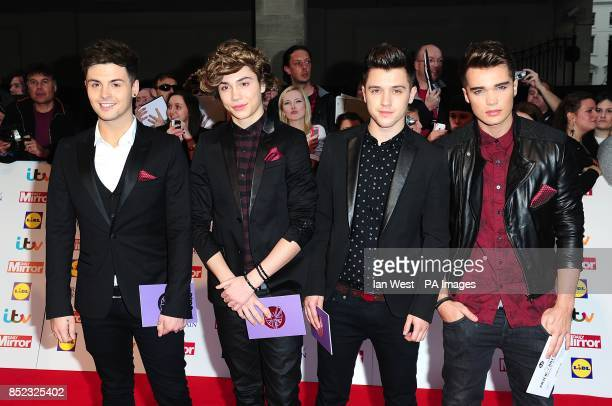 Jaymi Hensley George Shelley JJ Hamblet and Josh Cuthbert of Union J arriving at the 2013 Pride of Britain awards at Grosvenor House London
