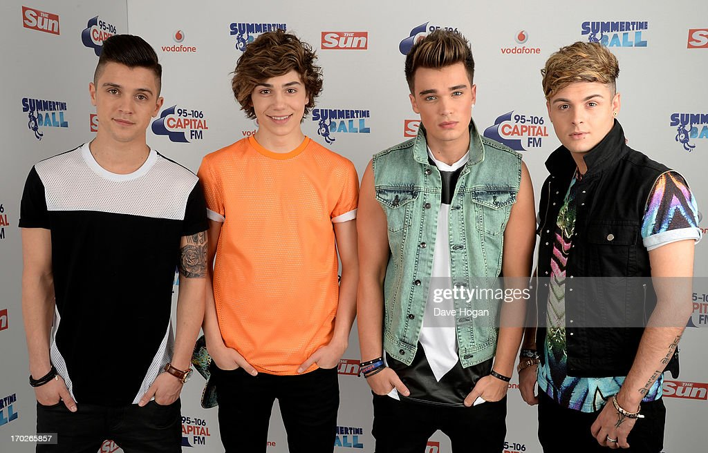 Jaymi Hensley, George Shelley, JJ Hamblett and Josh Cuthbert of Union J pose in a backstage studio during the Capital Summertime Ball at Wembley Stadium on June 9, 2013 in London, England.