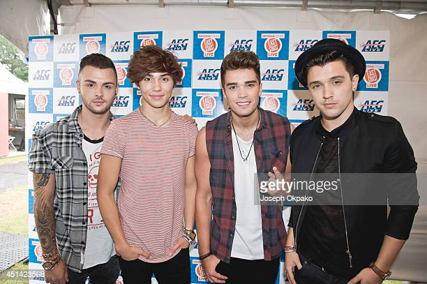 Jaymi Hensley George Shelley Josh Cuthbert and JJ Hamblett of Union J attend East Coast Live at Chantry Park on June 28 2014 in Ipswich England