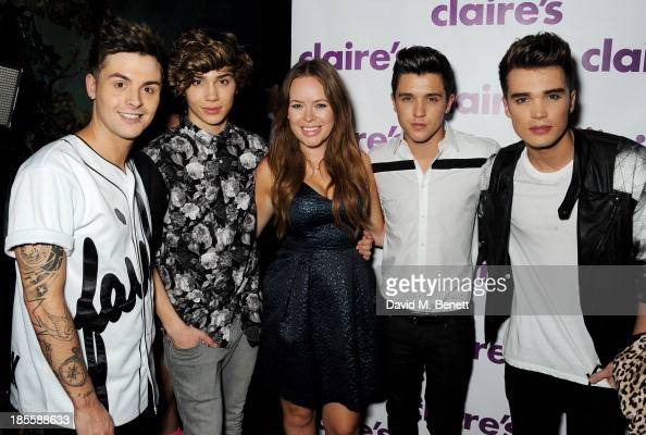 Jaymi Hensley George Shelley Tanya Burr JJ Hamblett and Josh Cuthbert attend Claire's Halloween Party featuring a secret performance by Union J at...