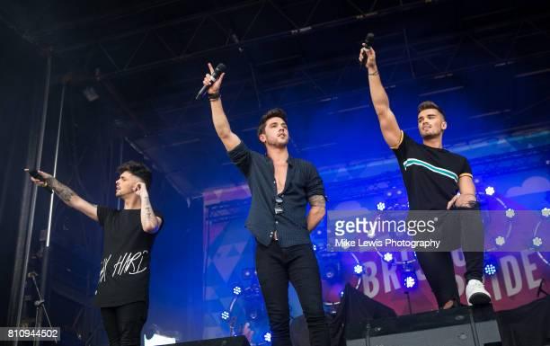 Jaymi Hensley JJ Hamblett and Josh Cuthbert of Union J Perform on stage at Bristol Pride on July 8 2017 in Bristol England