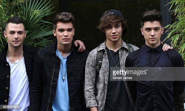 Jaymi Hensley Josh Cuthbert George Shelley and JJ Hamblett of Union J are seen leaving the ITV sudios on August 14 2014 in London England