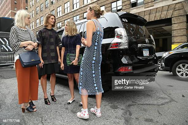 Jayna Maleri Noelle Sciacca Jenna Gotllieb and Laurel Pantin arrive to Lexus Arrivals at New York Fashion Week The Shows on September 11 2015 in New...