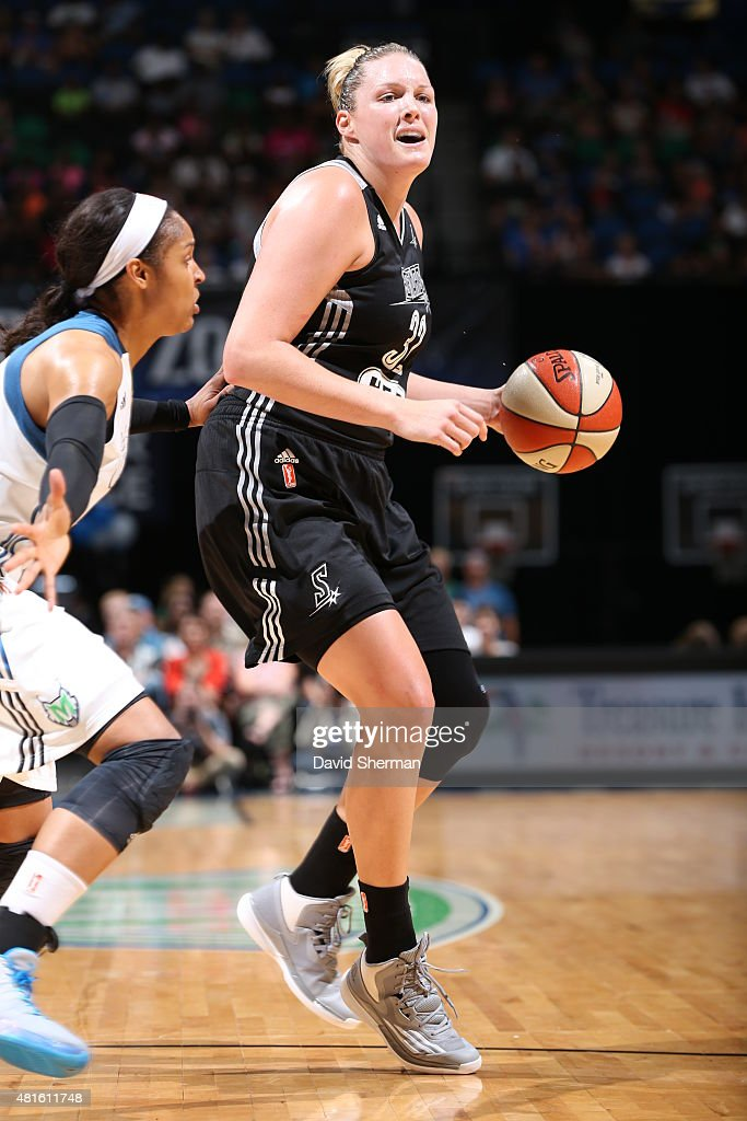 Jayne Appel #32 of the San Antonio Stars handles the ball against the Minnesota Lynx on July 12, 2015 at Target Center in Minneapolis, Minnesota.
