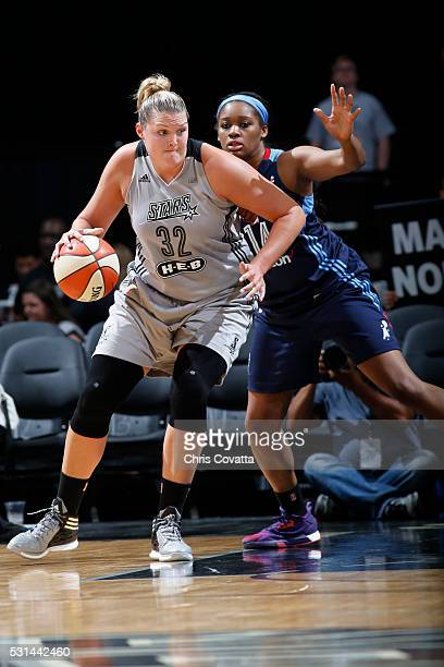 Jayne AppelMarinelli of the San Antonio Stars drives to the basket against the Atlanta Dream during the game on May 14 2016 at ATT Center in San...