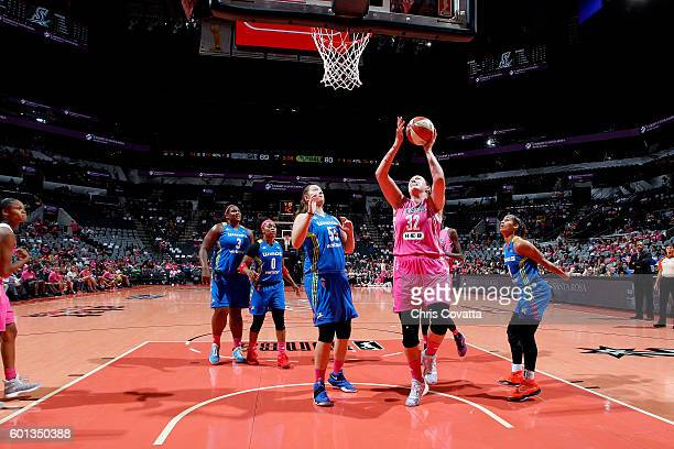 Jayne AppelMarinelli of the San Antonio Stars goes for a lay up during the game against the Dallas Wings during the WNBA game on September 9 2016 at...