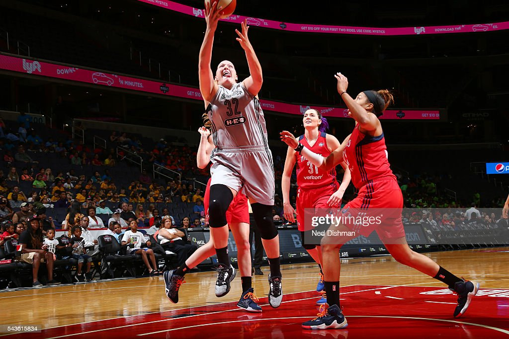 Jayne Appel-Marinelli #32 of the San Antonio Stars goes for a layup against the Washington Mystics on June 29, 2016 at the Verizon Center in Washington, DC.