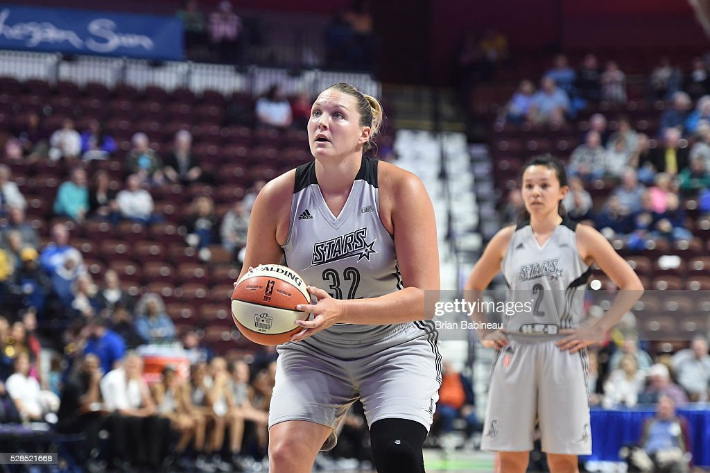 Jayne Appel-Marinelli #32 of the San Antonio Stars shoots a free throw against the Connecticut Sun in a WNBA preseason game on May 5, 2016 at the Mohegan Sun Arena in Uncasville, Connecticut.