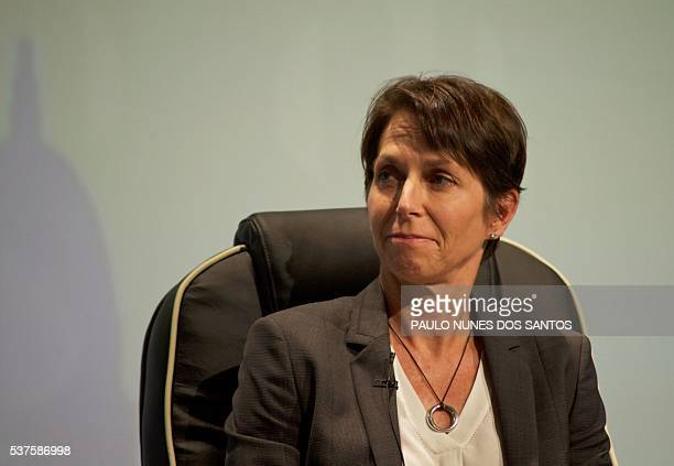 Jayne Hrdlicka CEO of Jetstar Group takes part in a group debate at the International Air Transport Association's annual general meeting in Dublin...