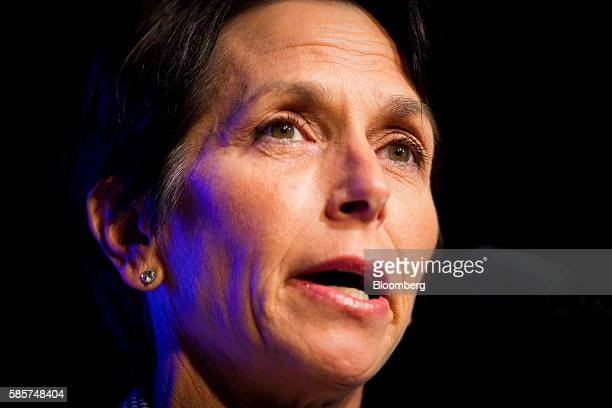Jayne Hrdlicka chief executive officer of Jetstar Group Pty a unit of Qantas Airways Ltd speaks during the CAPA Australia Pacific Summit 2016 in...