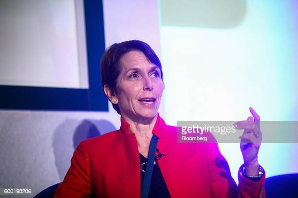 Jayne Hrdlicka chief executive officer of Jetstar Group Pty a unit of Qantas Airways Ltd speaks during a keynote panel discussion at the World Low...