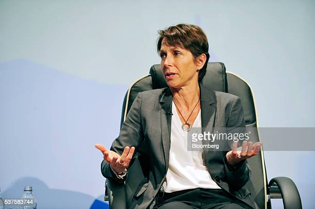 Jayne Hrdlicka chief executive officer of Jetstar Group Pty Ltd gestures as she speaks on a panel discussion at the International Air Transport...
