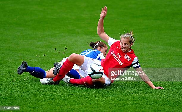 Jayne Ludlow of Arsenal Ladies battles for the ball with Jo Potter of Everton Ladies during the FA WSL Continental Cup Final between Birmingham City...