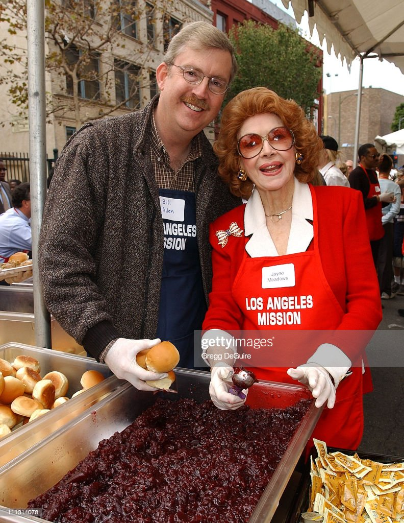<a gi-track='captionPersonalityLinkClicked' href=/galleries/search?phrase=Jayne+Meadows&family=editorial&specificpeople=93583 ng-click='$event.stopPropagation()'>Jayne Meadows</a> & son Bill Allen during Los Angeles Mission Thanksgiving Meal for the Homeless in Los Angeles, California, United States.