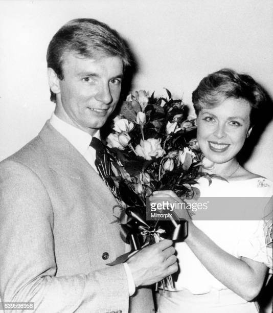 Jayne Torvill and Christopher Dean at the Chelsea flower show with bouquet of Bees of Chester roses named after them 25th May 1984