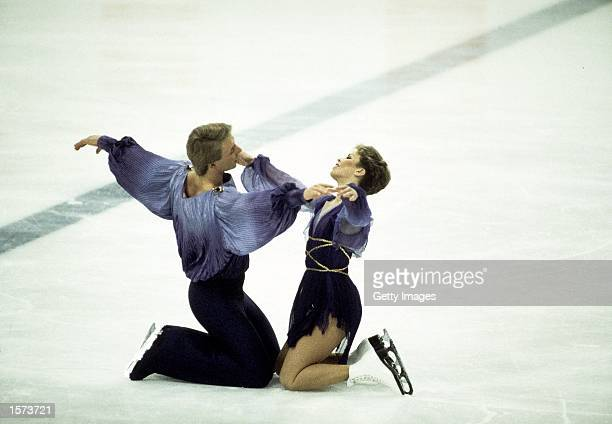 Jayne Torvill and Christopher Dean of Great Britain on their way to winning gold medals in the Ice Dancing event during the Sarajevo Winter Olympic...