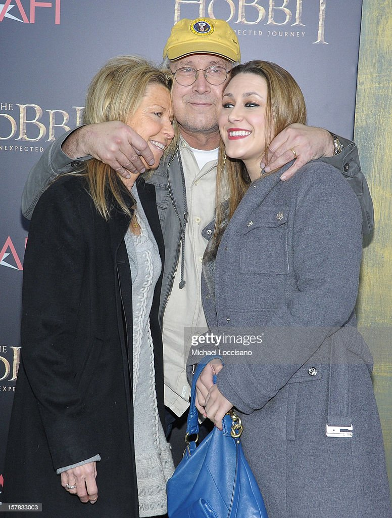 Jayni Chase, Chevy Chase, and Cydney Cathalene Chase attend 'The Hobbit: An Unexpected Journey' New York premiere benefiting AFI at Ziegfeld Theater on December 6, 2012 in New York City.