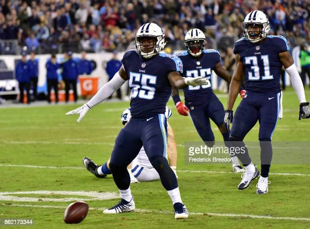 Jayon Brown of the Tennessee Titans does a celebration dance after making a play against Jack Doyle of the Indianapolis Colts during the second half...