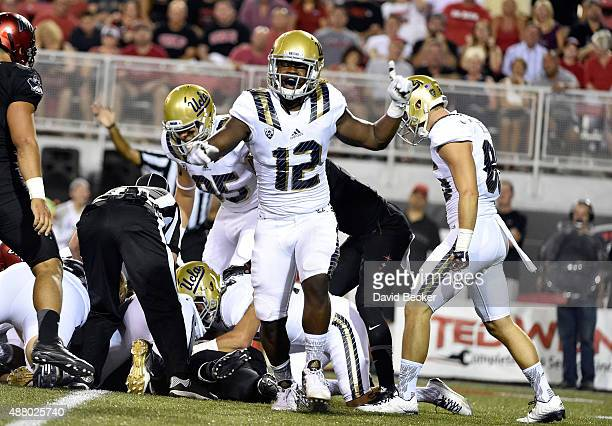 Jayon Brown of the UCLA Bruins reacts after a play against the UNLV Rebels during a game at Sam Boyd Stadium on September 12 2015 in Las Vegas Nevada