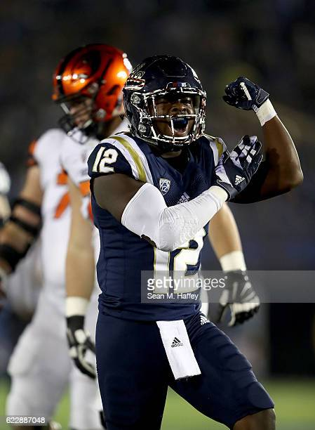 Jayon Brown of the UCLA Bruins reacts after a tackle during the first half of a game against the Oregon State Beavers at The Rose Bowl on November 12...