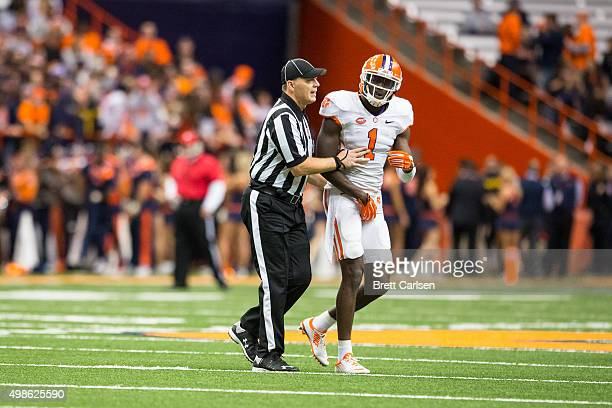 Jayron Kearse of the Clemson Tigers holds his groin following a hit below the waist during the game against the Syracuse Orange on November 14 2015...