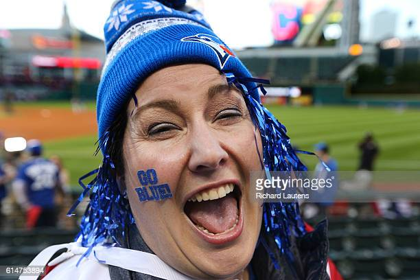 CLEVELAND ON OCTOBER 14 Jays fan Katie Meredith from Burlington Ontario gets in the spirit of the game prior to the opening pitch The Toronto Blue...
