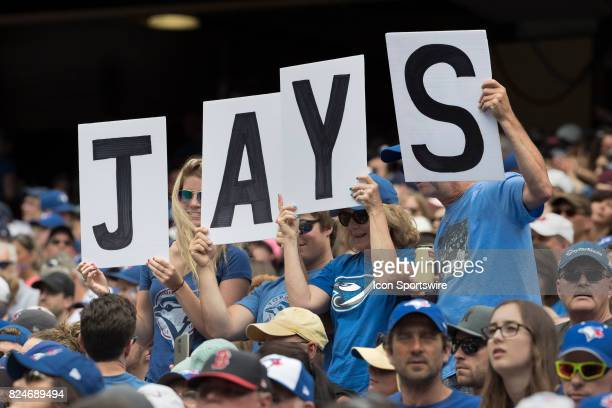 Jays fans during the regular season MLB game between the Los Angeles Angels of Anaheim and the Toronto Blue Jays at Rogers Centre in Toronto ON...