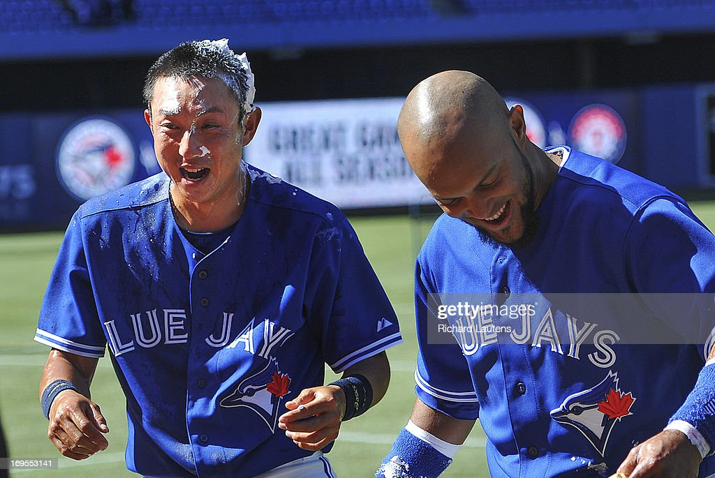 Jays second baseman Emilio Bonifacio (1) gave Toronto Blue Jays shortstop Munenori Kawasaki (66) on left the shaving cream treatment following the victory. The Toronto Blue Jays beat the Baltimore Orioles 6-5 in the fourth of their four straight games at the Rogers Centre.