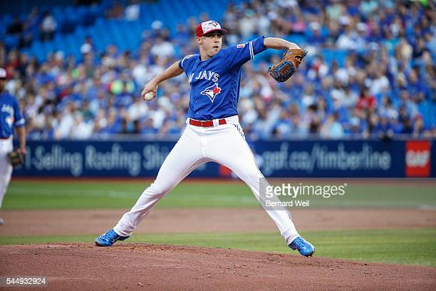 BURLINGTON ON JULY 4 Jays' starting pitcher Aaron Sanchez pitches in the first inning as the Toronto Blue Jays host the Baltimore Orioles at the...