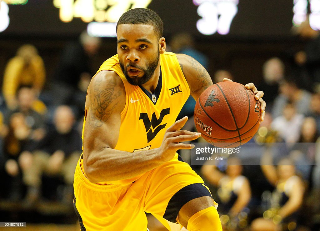 Jaysean Paige of the West Virginia Mountaineers in action during the game against the Kansas Jayhawks at the WVU Coliseum on January 12 2016 in...