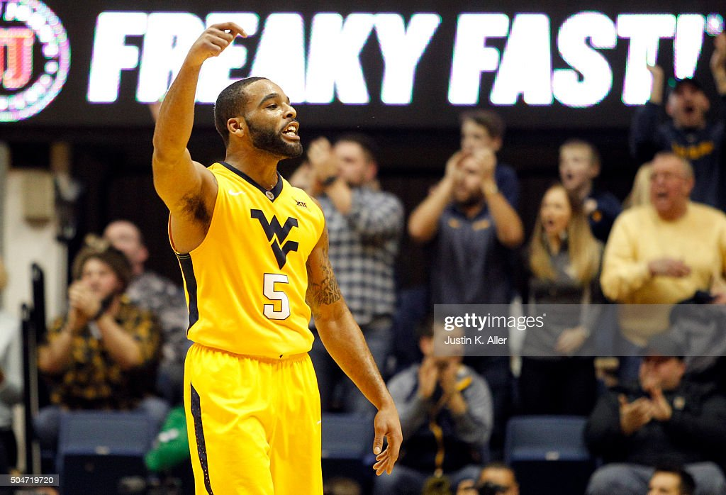 Jaysean Paige of the West Virginia Mountaineers reacts in the first half during the game against the Kansas Jayhawks at the WVU Coliseum on January...