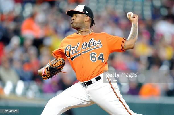 Jayson Aquino of the Baltimore Orioles pitches against the Boston Red Sox at Oriole Park at Camden Yards on April 22 2017 in Baltimore Maryland