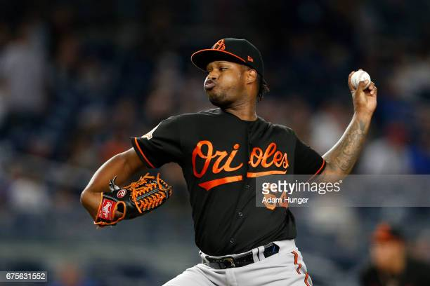 Jayson Aquino of the Baltimore Orioles pitches against the New York Yankees at Yankee Stadium on April 28 2017 in the Bronx borough of New York City...