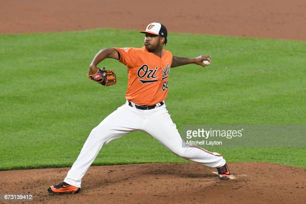 Jayson Aquino of the Baltimore Orioles pitches during a baseball game against the Boston Red Sox at Oriole Park at Camden Yards on April 22 2017 in...
