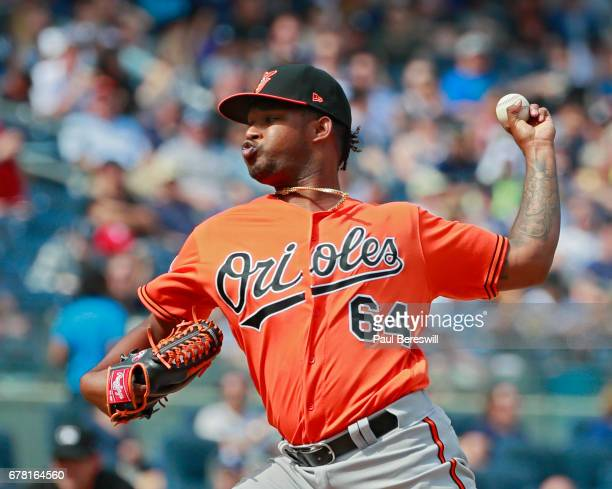 Jayson Aquino of the Baltimore Orioles pitches during an MLB baseball game against the New York Yankees on April 29 2017 at Yankee Stadium in the...