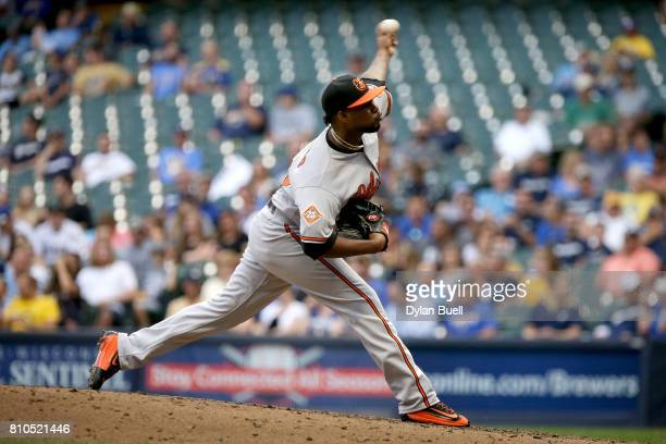 Jayson Aquino of the Baltimore Orioles pitches in the third inning against the Milwaukee Brewers at Miller Park on July 05 2017 in Milwaukee Wisconsin